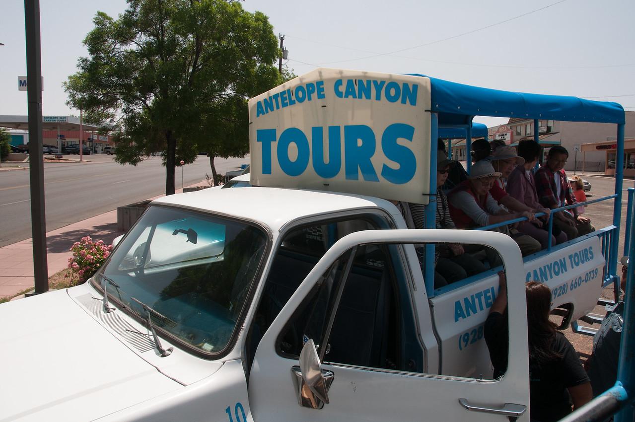 Tour truck to Antelope Canyon in Arizona, USA
