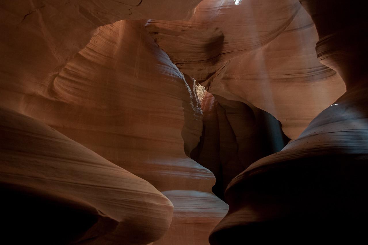 Beam of light entering Antelope Canyon in Arizona, USA