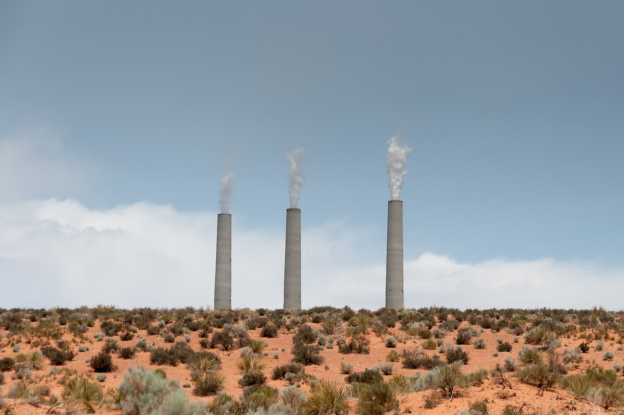 Navajo coal-burning power plant near the entrance to Antelope Canyon in Arizona