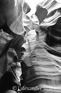 Looking up in Black and White - Antelope Canyon