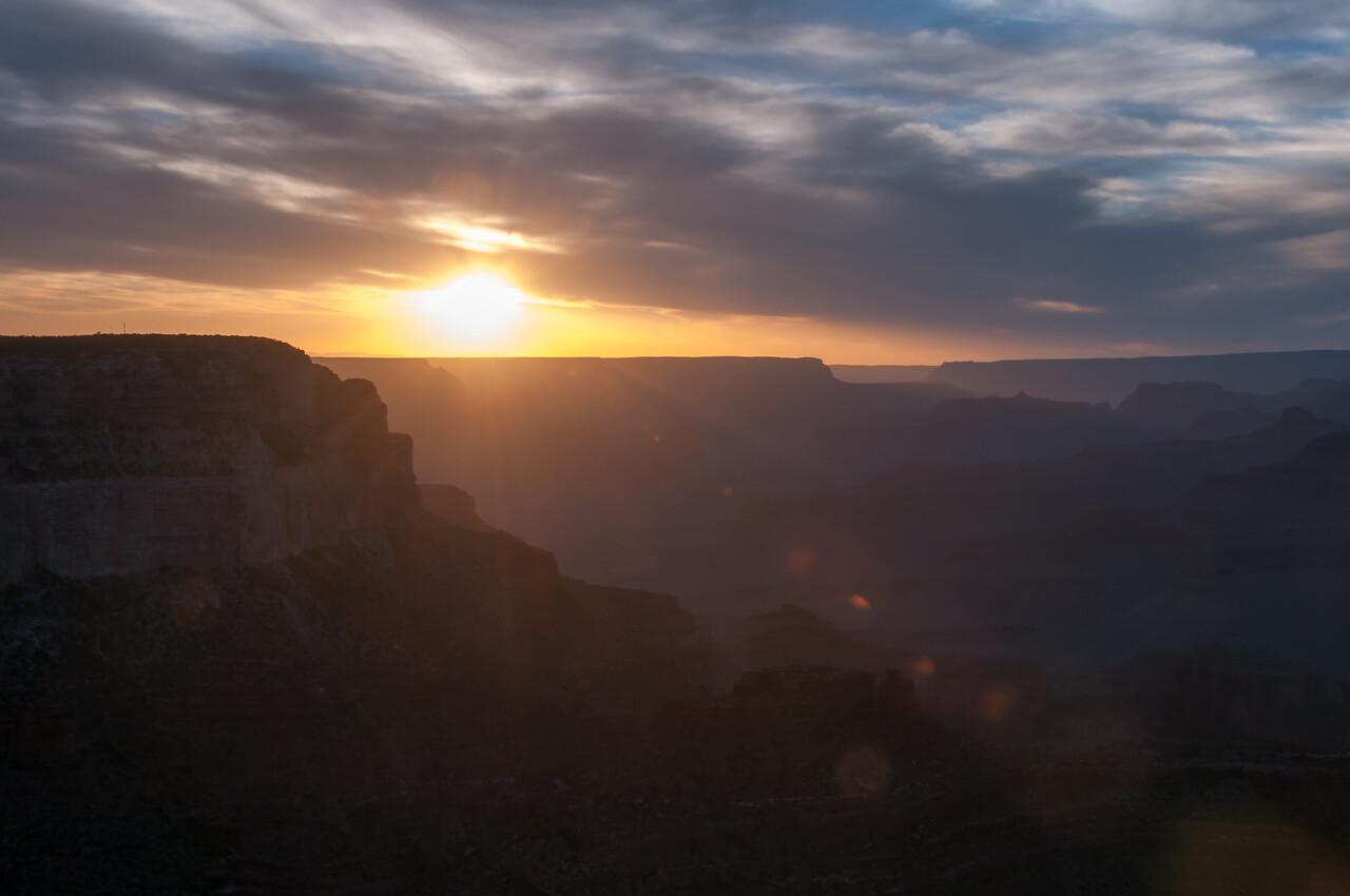 Sun beaming over Grand Canyon in Arizona, USA