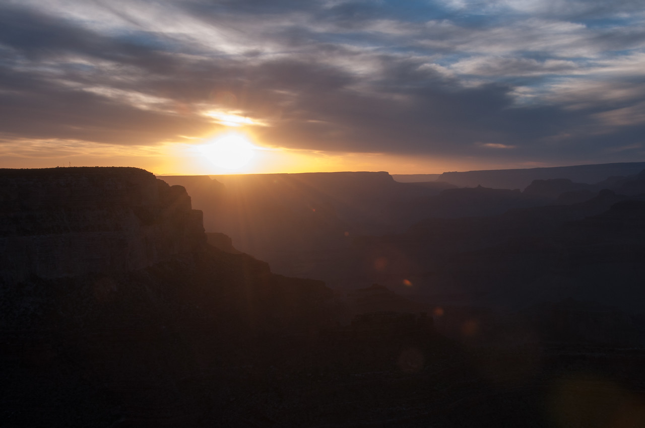Sun beaming over Grand Canyon in Arizona, USA