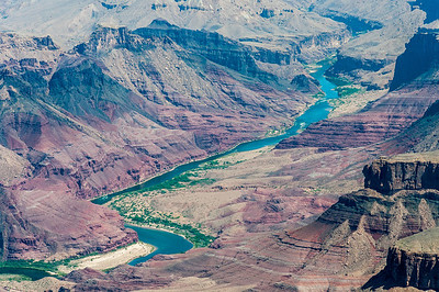 The Colorado River winds through the Grand Canyon in Arizona, USA