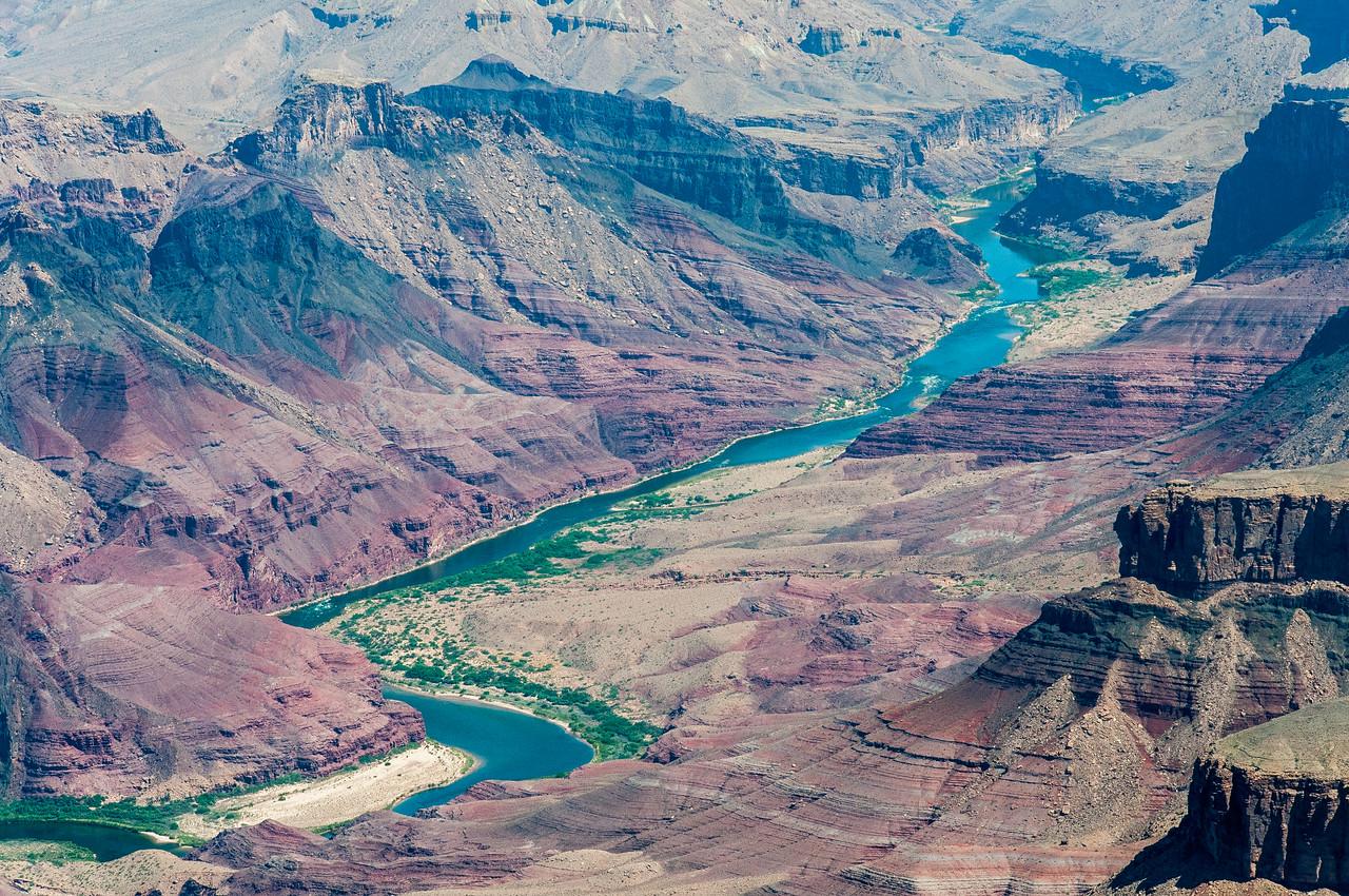 The Colorado River winds through the Grand Canyon in Arizona, USA
