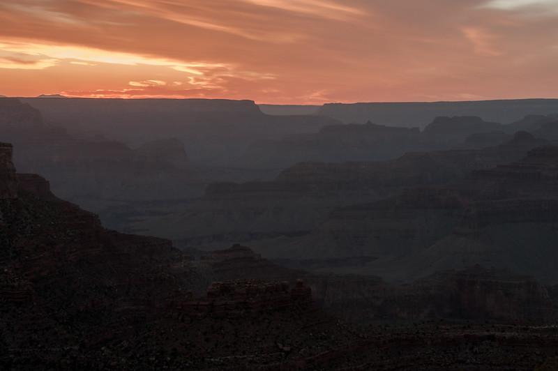Panorama of Grand Canyon at sunset in Arizona