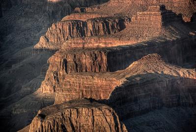 Close-up of canyon formations at Grand Canyon National Park in Arizona