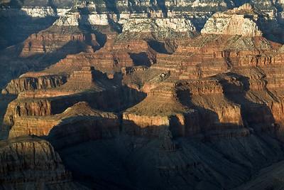 Detailed shot of the canyons at Grand Canyon National Park in Arizona, USA
