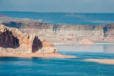 Red sandstone walls at Lake Powell in Arizona, USA