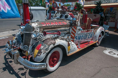 Vintage snow car in Seligman, Arizona