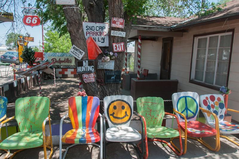 Colorful chairs in Seligman, Arizona