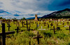 Taos Pueblo cemetery, Taos, New Mexico<br /> The church ruin is the remnant of the church burned down by the U.S. Army during the Indian Wars.