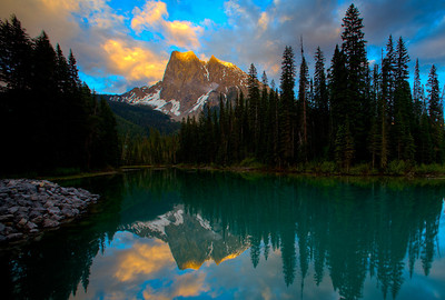 Mount Burgess and Emerald Lake at sunset