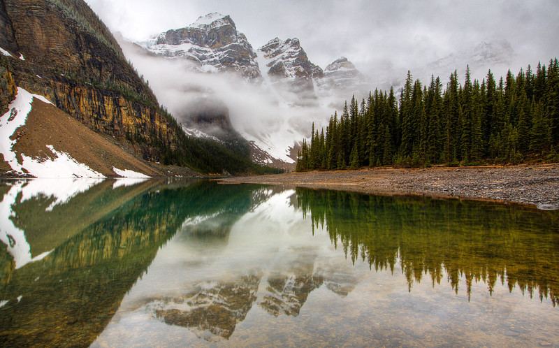 Moraine Lake after a night of rain and snow