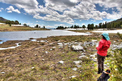 Looking toward the exit of Beehive Basin Lake in HDR