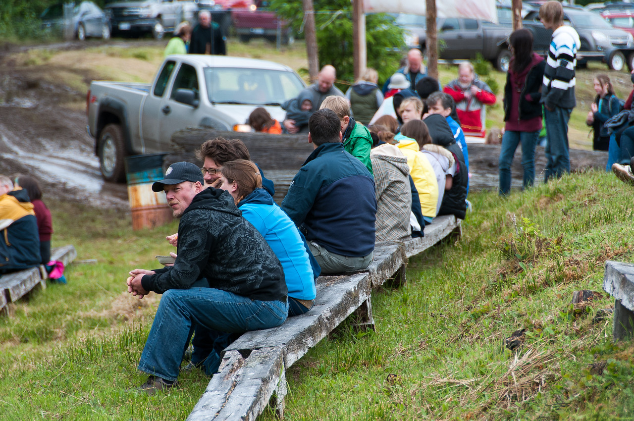 Spectators at mud-bog races in Port Clements, Haida Gwaii, British Columbia