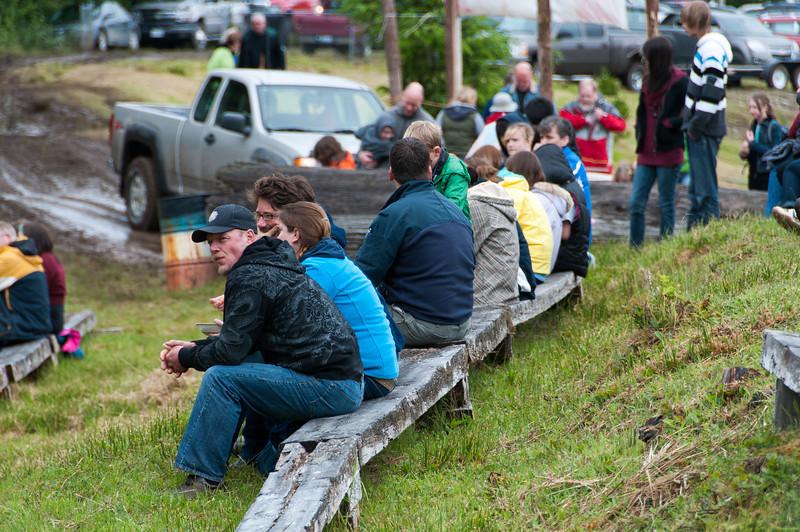 Spectators at mud-bog races in Port Clements, Haida Gwaii, British Columbia