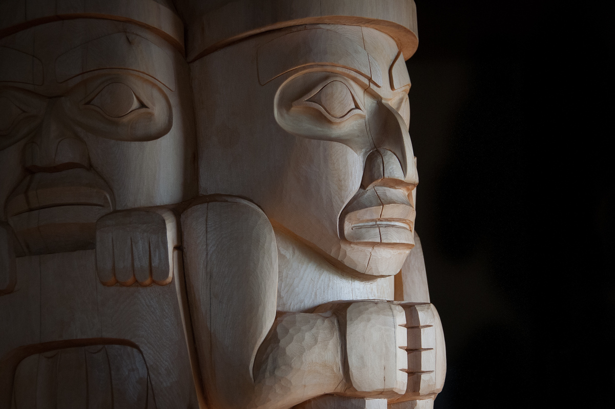 A Haida Totem Pole in Old Massett, British Columbia