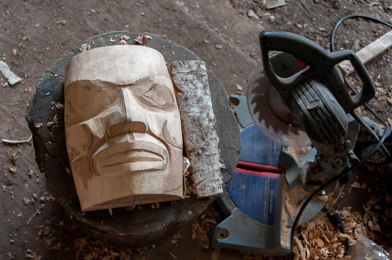 Wood carving in Haida Heritage Center in Haida Gwaii, British Columbia