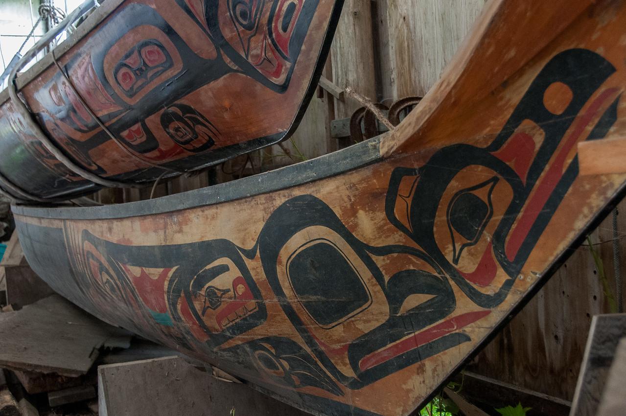 Wooden figures at Haida Gwaii, British Columbia