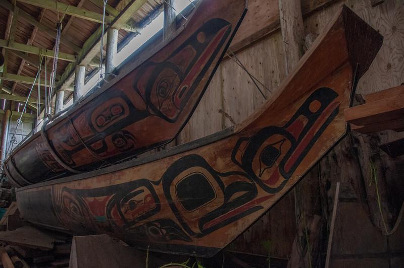 Native Indian wood figures at Haida Gwaii, British Columbia