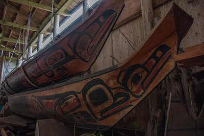 Native Indian wood figures at Haida Gwaii, British Columbia