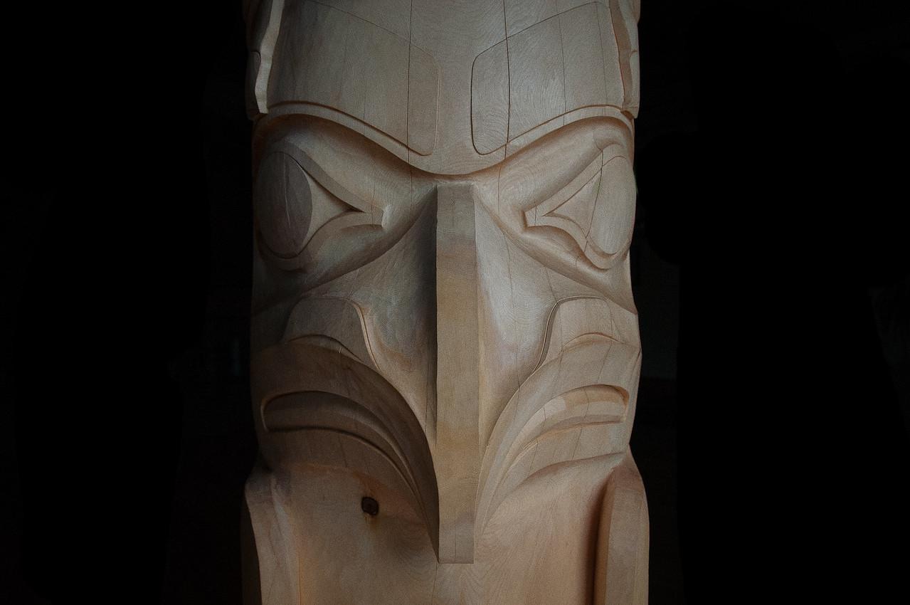 Details of totem pole in Haida Gwaii, British Columbia
