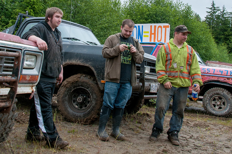 Dirt truck drivers in Haida Gwaii, British Columbia