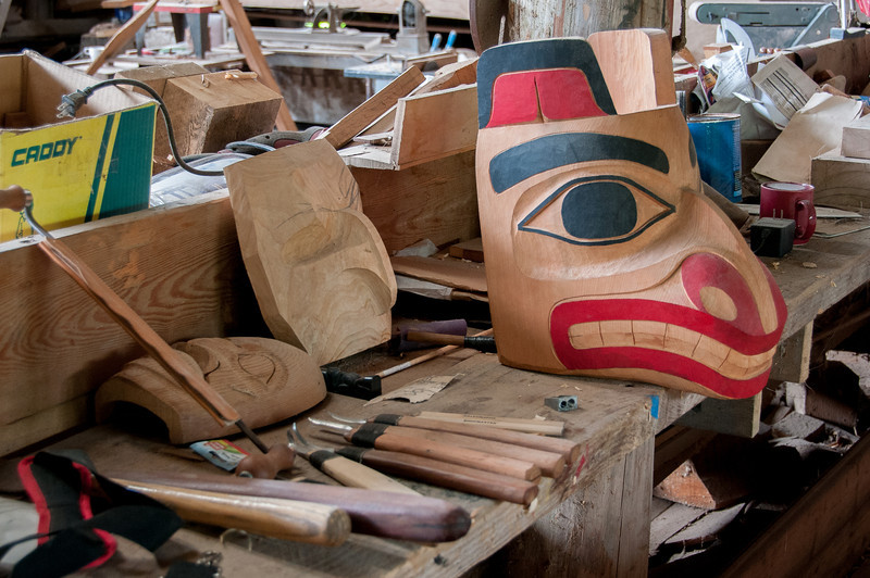 Totem pole being carved in Haida Heritage Center, British Columbia