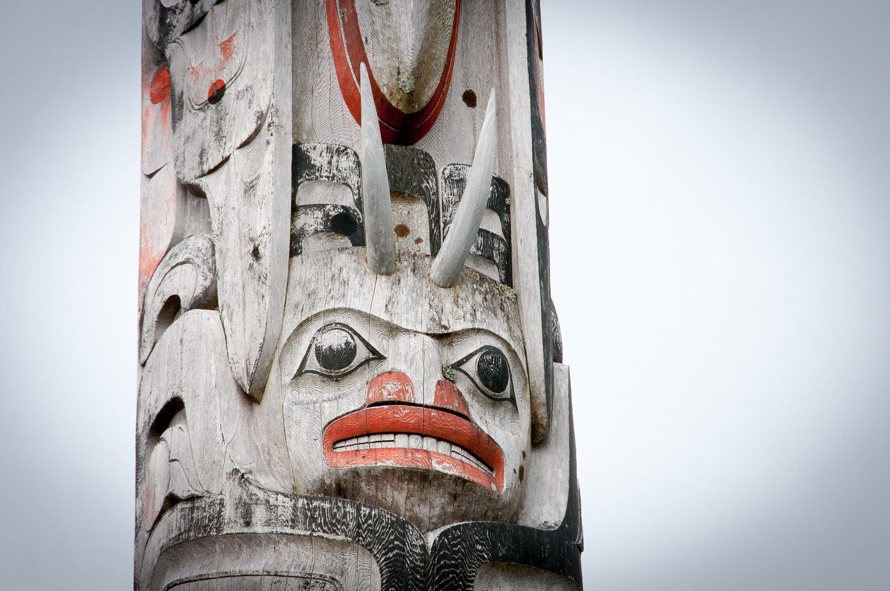 Totem pole in Skidegate, Haida Gwaii, British Columbia