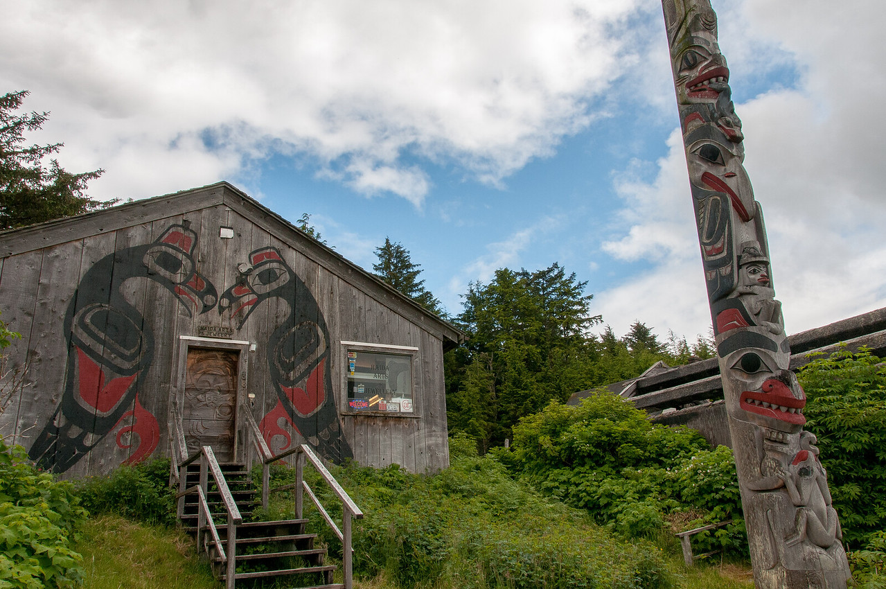 Totem pole in Skidegate, British Columbia
