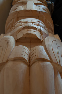 Totem pole in Haida Heritage Center in Haida Gwaii, British Columbia