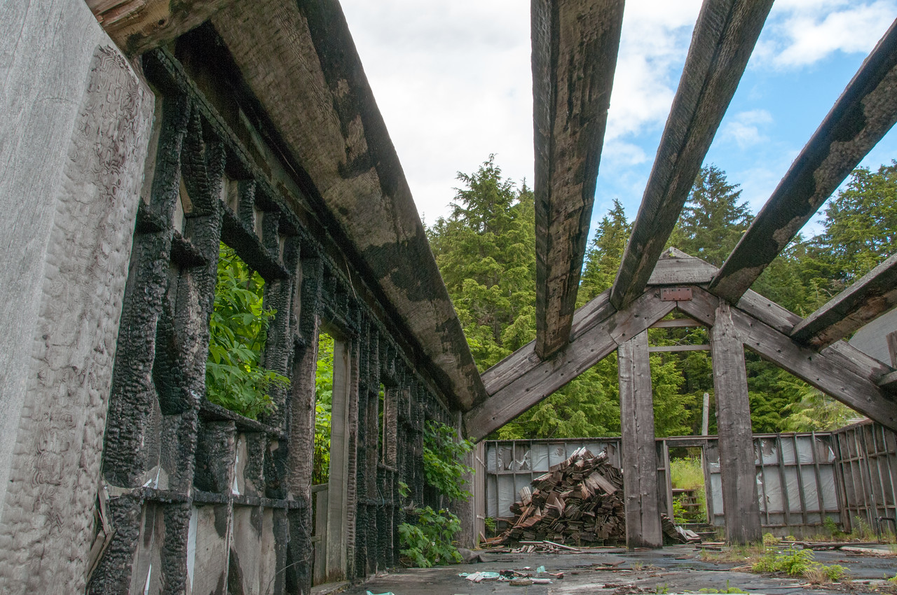 Remains of an old building in Skidegate, British Columbia