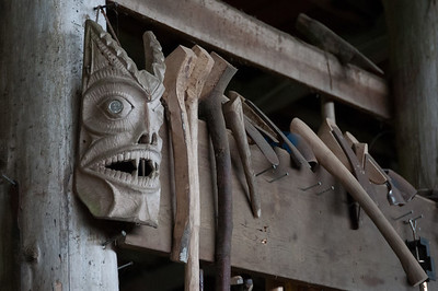 Wood carving tools in Haida Heritage Center, Haida Gwaii, British Columbia