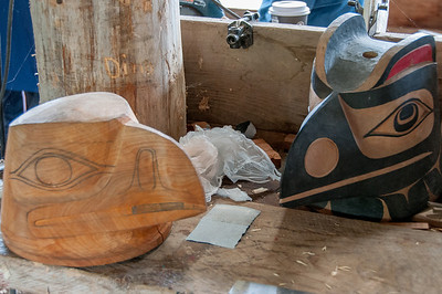 Wood carvings in Haida Heritage Center in Haida Gwaii, British Columbia