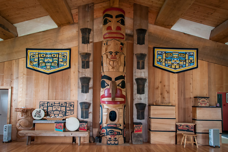 Inside Haida Heritage Center in Haida Gwaii, British Columbia