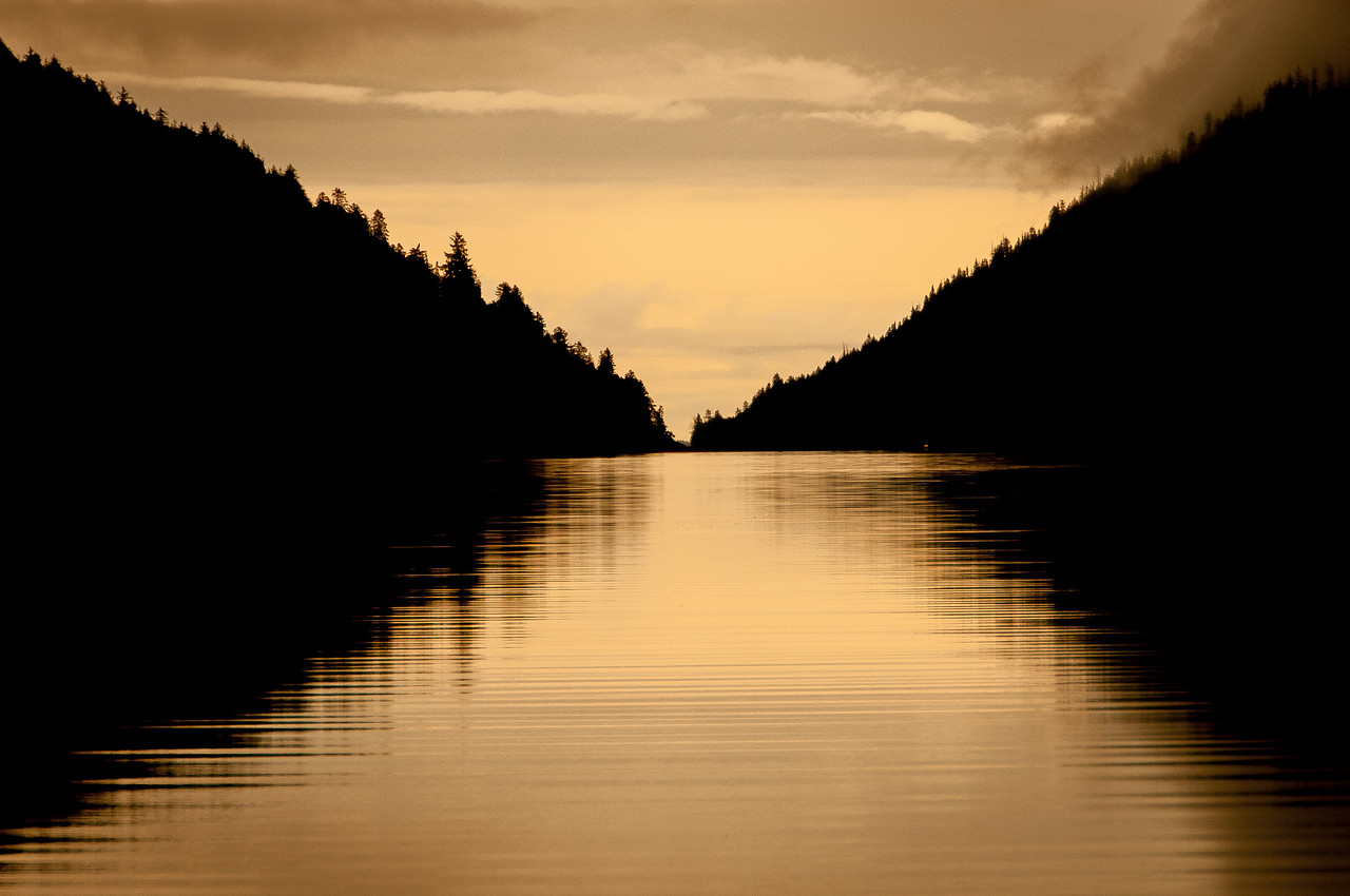 Sunlight over Lucy Island in Haida Gwaii, British Columbia