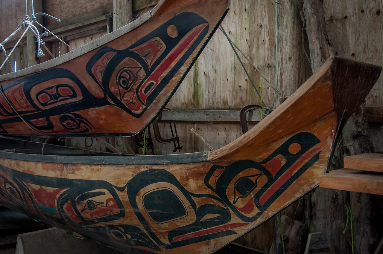 Native Indian wooden figures at Haida Gwaii, British Columbia