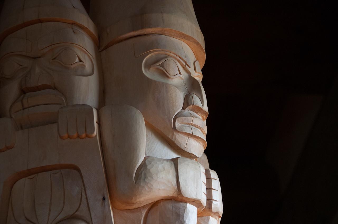 Isolated shot of totem pole in Haida Gwaii, British Columbia