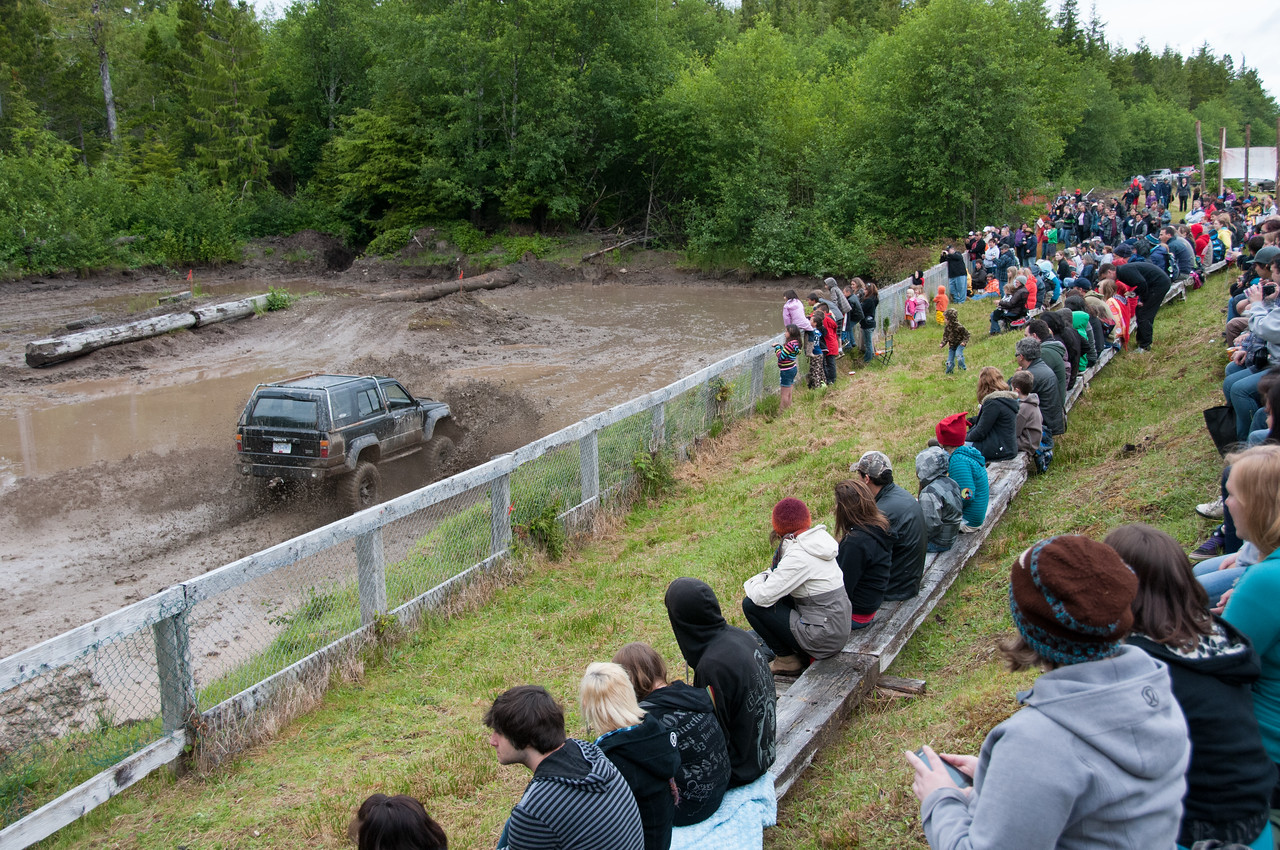 Spectators at the mud-bog races in Port Clements, Haida Gwaii, British Columbia
