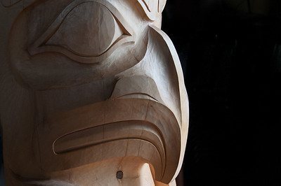 Details of totem pole in Haida Gwaii, British Columbia