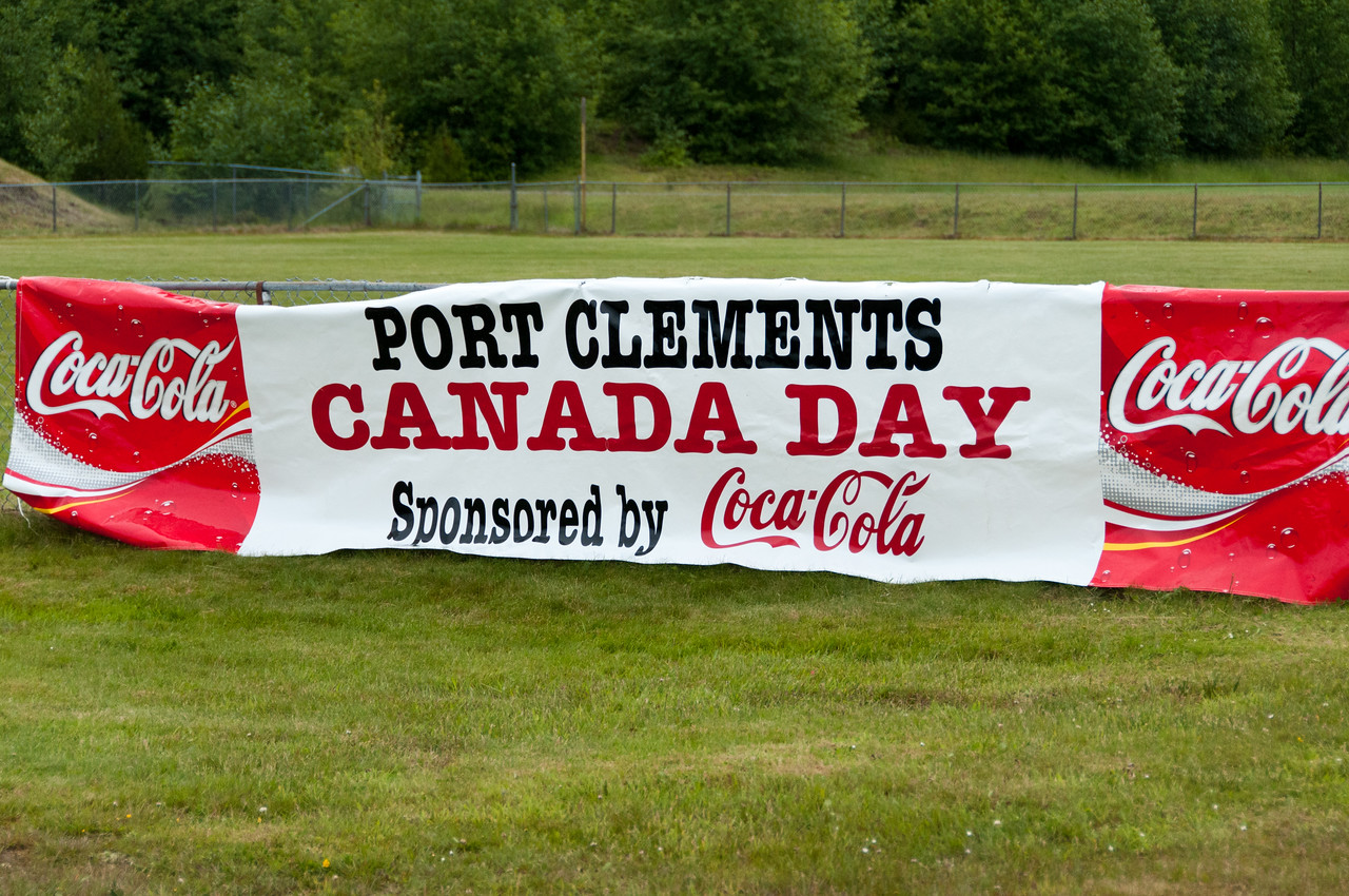 Coca-Cola sponsorship ad during the mud races in Port Clements - Haida Gwaii, British Columbia