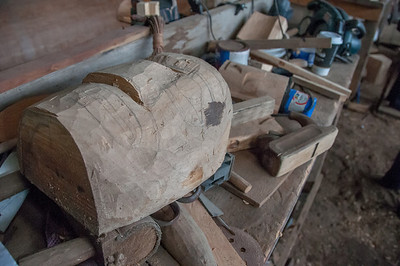Totem pole being carved in Haida Heritage Center in Haida Gwaii, British Columbia