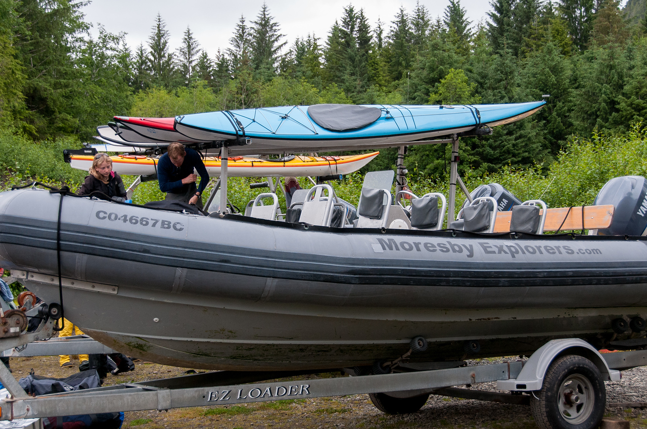 Tourist canoe in Haida Gwaii, British Columbia