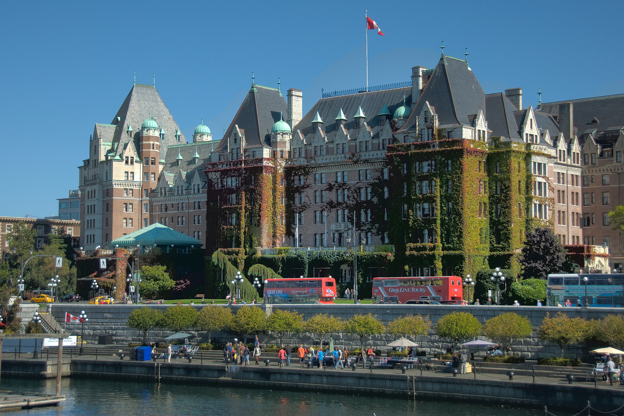 The marina and seawall in front of the Fairmont Empress Hotel in Victoria's Inner Harbour