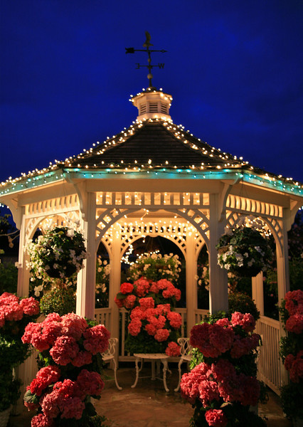 Gazebo at night lights up the courtyard at Mill Rose Inn, Half Moon Bay, California