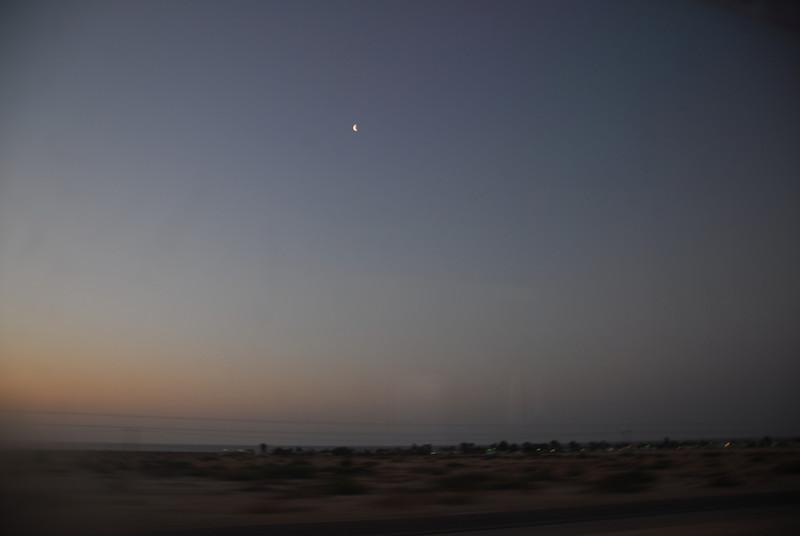 Dusk at the desert along the Amtrak route in California