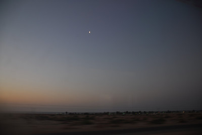 Dusk at the desert along the Amtrak route in California