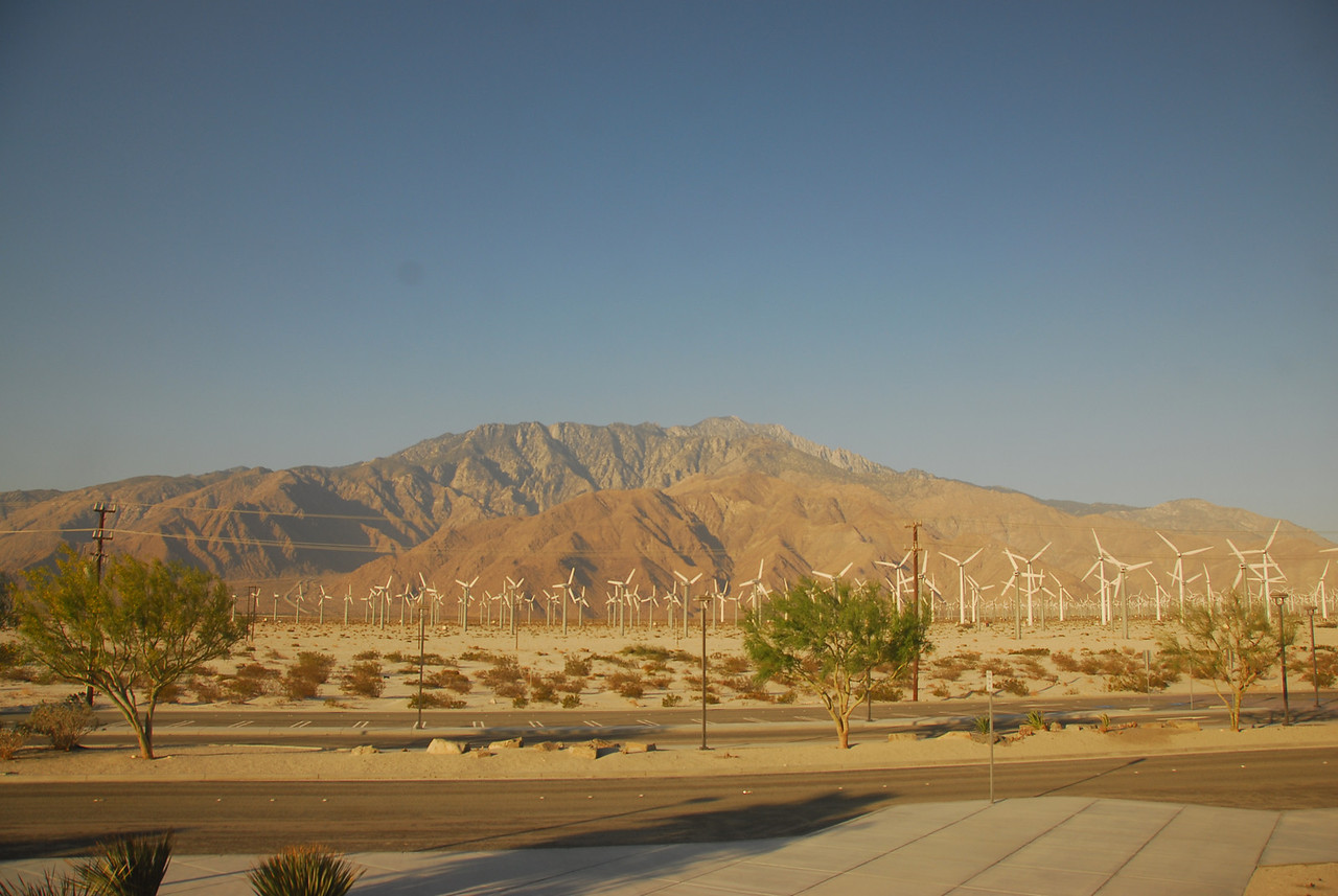 Coachella Valley behind windmills in Palm Springs along Amtrak route in California