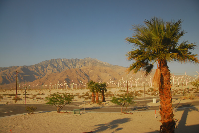Windmills and the Coachella Valley in Palm Springs along the Amtrak route in California