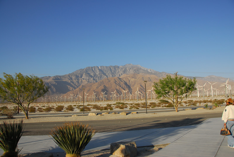 The Coachella Valley behind the windmills in Palm Springs along Amtrak route